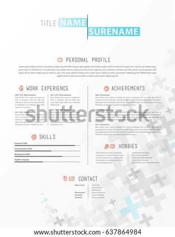 Creative Simple Cv Template Grey Plus Stock Vector (Royalty Free