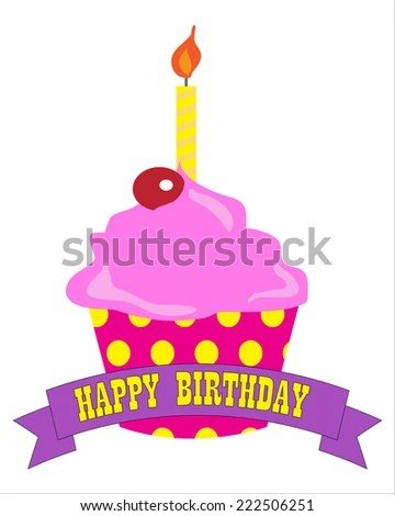 Cupcake Candle Happy Birthday Banner Stock Vector (Royalty Free