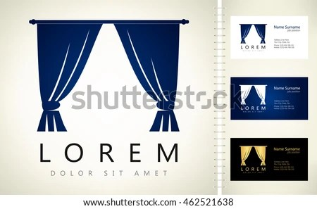 Curtains Vector Design Business Card Template Stock Vector (Royalty