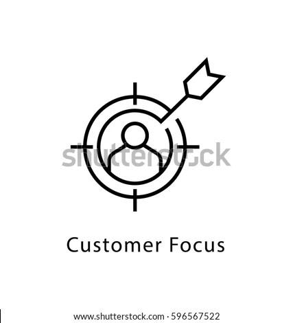 Customer Focus Vector Line Icon Stock Vector (Royalty Free