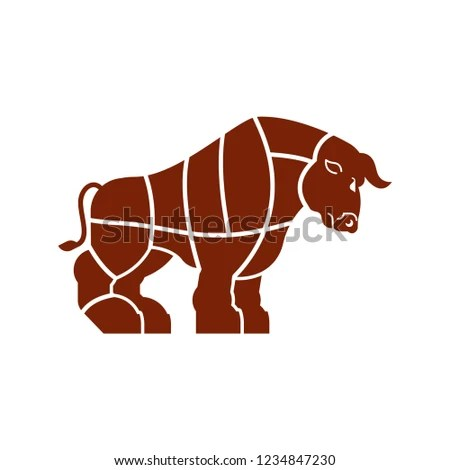 Cut Meat Bull Ox Silhouette Scheme Stock Vector (Royalty Free