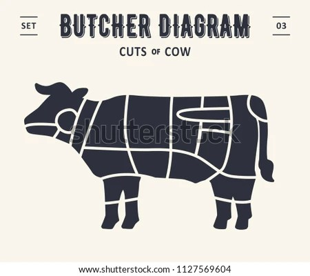 Cut Meat Set Poster Butcher Diagram Stock Vector (Royalty Free