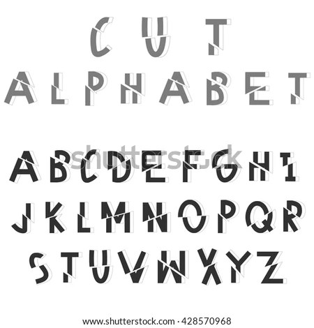 Cut Sliced Alphabet Dissected Vector Font Stock Vector (Royalty Free