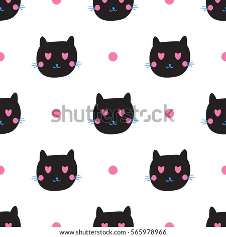 Cute Black Cat Emotions Seamless Pattern Stock Vector (Royalty Free