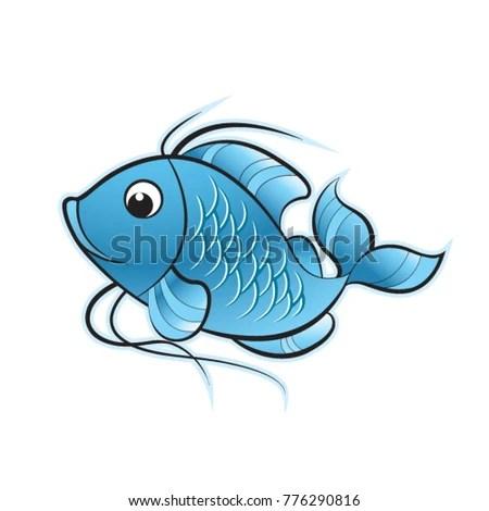 Cute Blue Color Fish Cartoon Vector Stock Vector (Royalty Free