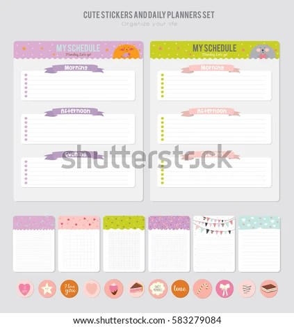 Cute Calendar Daily Planner Template Beautiful Stock Vector (Royalty
