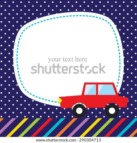 Cute Card Template Red Car Stock Vector (Royalty Free) 290304713