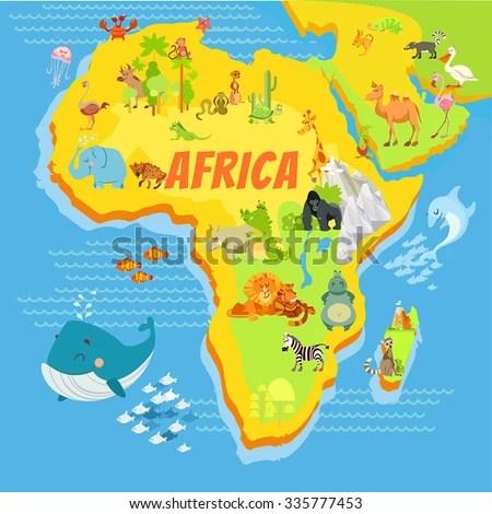Cute Cartoon Africa Continent Map Mountainsriverstrees Stock Vector