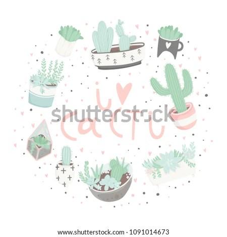 Cute Cartoon Readytouse Gift Postcards Succulents Stock Vector