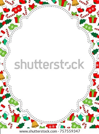 Cute Christmas Vector Page Border Stock Vector (Royalty Free