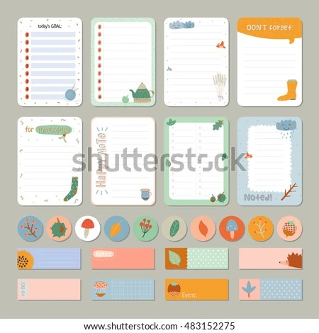 Cute Daily Calendar Do List Template Stock Vector (Royalty Free
