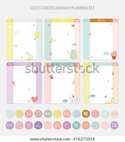 Cute Daily Calendar Template Note Paper Stock Vector (Royalty Free