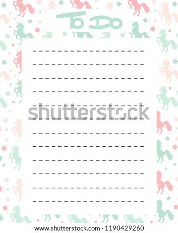Cute Do List Vector Printable Colorful Stock Vector (Royalty Free