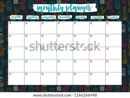 Cute Monthly Planner 2019 Year On Stock Vector (Royalty Free