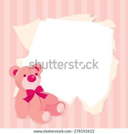 Cute Pink Teddy Bears Baby Announcement Stock Vector (Royalty Free