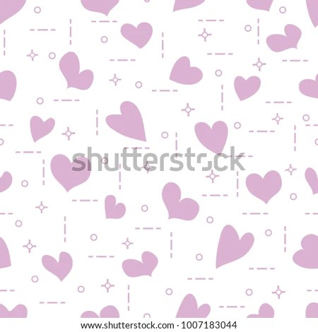 Cute Seamless Pattern Hearts Template Design Stock Vector (Royalty