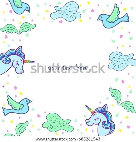 Cute Template Unicorn Wings Bird Cloud Stock Vector (Royalty Free