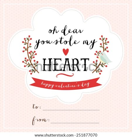 Cute Valentines Day Card Template Lovely Stock Vector (Royalty Free