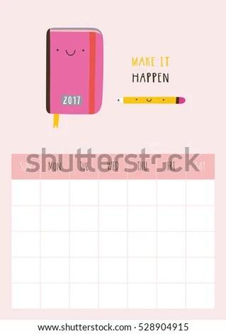 Cute Vector Monthly Blank Calendar Ready Stock Vector (Royalty Free