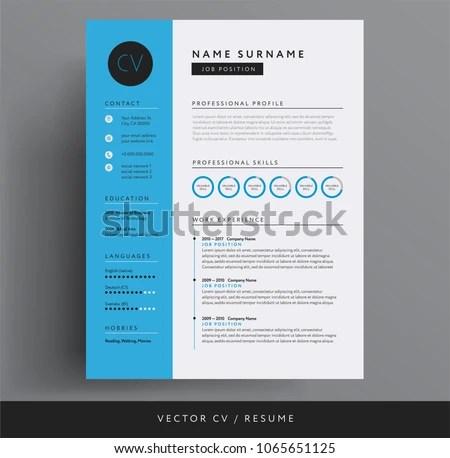 CV Resume Design Template Blue Color Stock Vector (Royalty Free