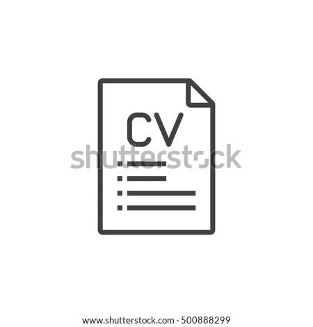 CV Resume Line Icon Outline Vector Stock Vector (Royalty Free