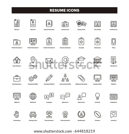 CV RESUME Outline Icons Stock Vector (Royalty Free) 644818219