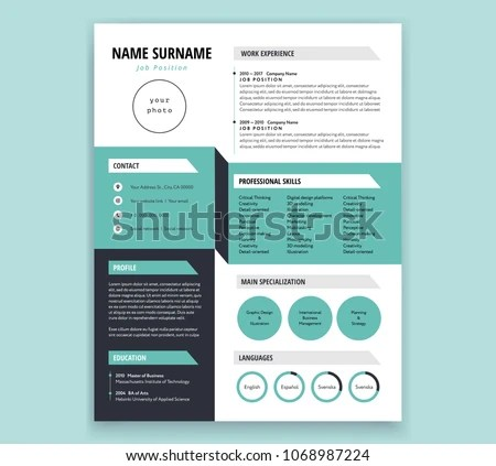 CV Resume Template Design Cool 3 D Stock Vector (Royalty Free