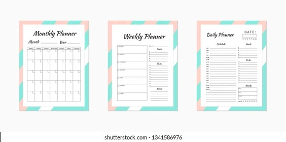 Set Minimalist Planners Daily Weekly Monthly Stock Vector (Royalty