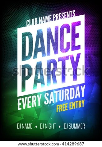Dance Party Poster Template Night Dance Stock Vector (Royalty Free