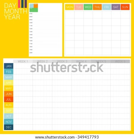 DAY MONTH YEAR 3 Types Planner Stock Vector (Royalty Free) 349417793