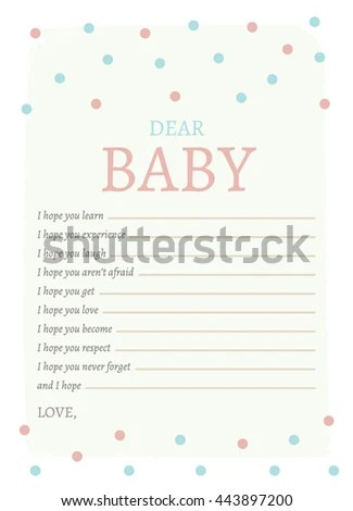 Dear Baby Printable Card Baby Momto Be Stock Vector (Royalty Free