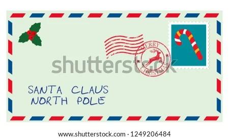 Dear Santa Envelope Stamp Letter Desires Stock Vector (Royalty Free