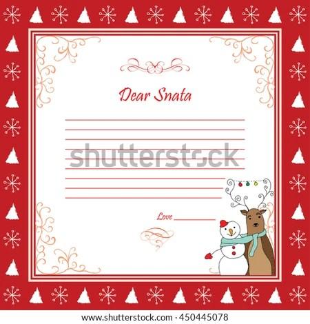 Dear Santa Template Letter Reindeer Snowman Stock Vector (Royalty