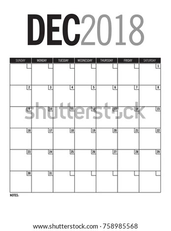 December 2018 Blank Calendar Page Dates Stock Vector (Royalty Free