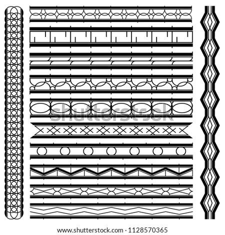 Decoration Black White Seamless Lines Border Stock Vector (Royalty