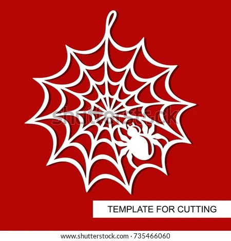 Decoration Halloween Spiderweb Template Laser Cutting Stock Vector