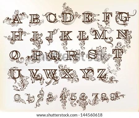 Decorative English Letters Design Calligraphic Vector Stock Vector