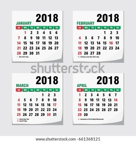 Design Calendar 2018 Set Four Months Stock Vector (Royalty Free