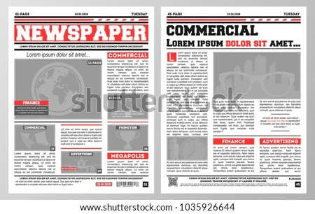 Design Daily Newspaper Template Two Pages Stock Vector (Royalty Free
