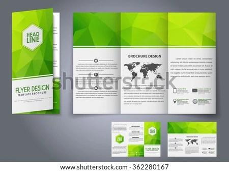 Design Trifold Flyers Brochures Green Polygonal Stock Vector