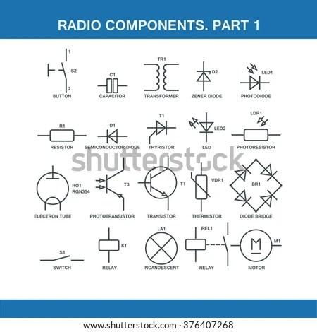 Designation Components Wiring Diagram Vector Format Stock Vector