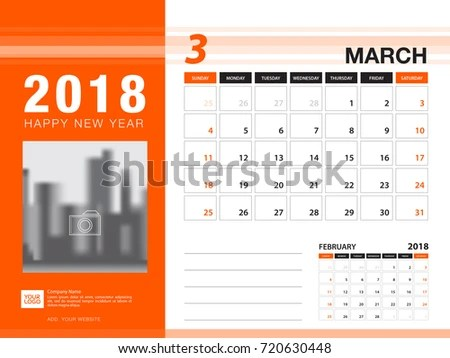 Desk Calendar 2018 Template MARCH 2018 Stock Vector (Royalty Free