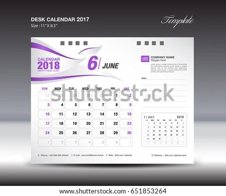 Desk Calendar Template 2018 Year JUNE Stock Vector (Royalty Free
