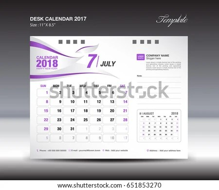 Desk Calendar Template 2018 Year JULY Stock Vector (Royalty Free