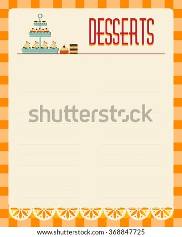 Desserts Blank Menu Template Retro Style Stock Vector (Royalty Free