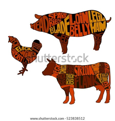Diagrams Butcher Shop Silhouette Animal Beef Stock Vector (Royalty