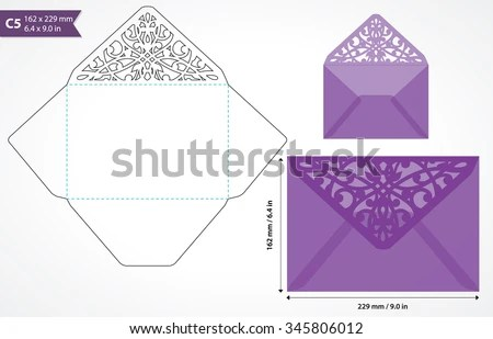 Die Cut Envelope Template Vector Standard Stock Vector (Royalty Free