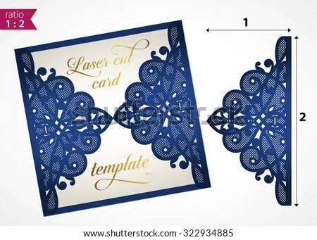 Die Cut Wedding Invitation Card Template Stock Vector (Royalty Free