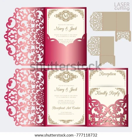 Die Laser Cut Wedding Card Vector Stock Vector (Royalty Free