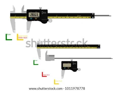 Digital Vernier Caliper On Transparent Background Stock Vector